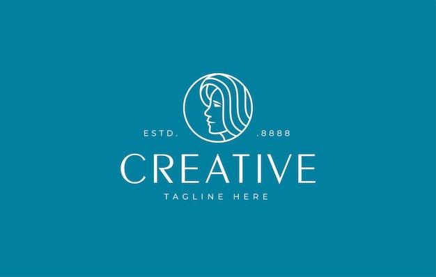 Ispirazione per il design del logo della testa di donna minimalista
