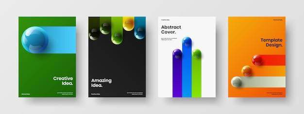 Collezione di illustrazioni di cartelloni minimalisti con palline 3d