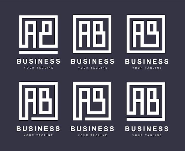 Marchio della lettera ab minimalista con diverse versioni