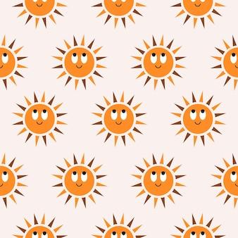 Modello astratto minimalista senza cuciture con simpatico sole sorridente su sfondo pastello motivo bohémien