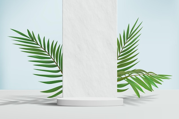 Sfondo minimalista con piedistallo vuoto e muro di pietra con palma per dimostrazione del prodotto.