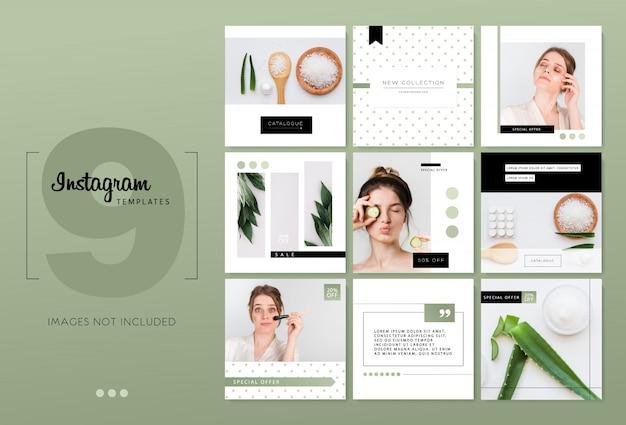 Modelli minimalisti di instagram in bianco e nero Vettore Premium