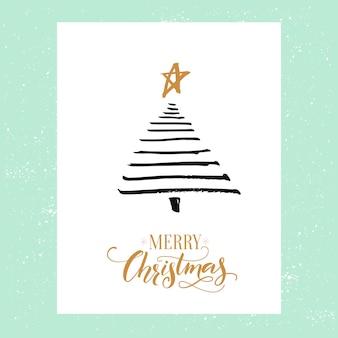 Design minimalista per biglietti di auguri di natale albero di abete rosso semplice e calligrafia buon natale