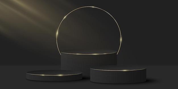 Fase elegante minimalista. cilindro nero 3d su un'oscurità. piattaforma o podio con anello d'oro.