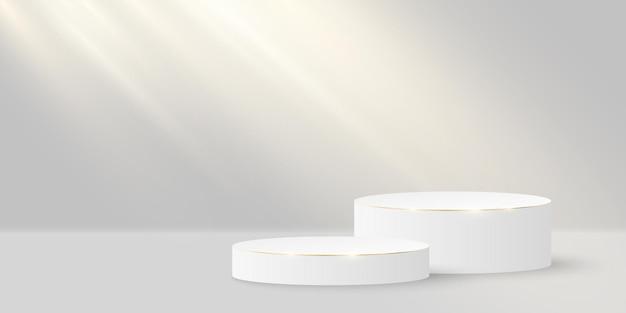 Fase elegante minimalista. cilindro 3d con oro su fondo bianco. piattaforma o podio con luce incidente.