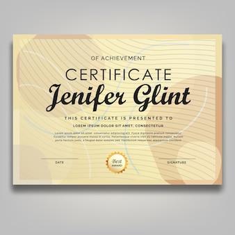 Modello di premi certificato disegnato a mano minimalista