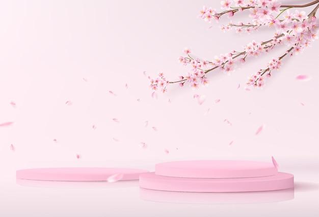 Un palco minimalista con podi cilindrici vuoti. mockup di vetrina per vetrina di prodotti in rosa con rami di sakura sullo sfondo.