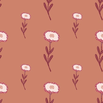 Modello botanico senza cuciture stile minimalista con fiori bianchi