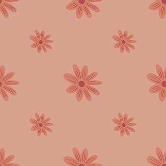 Modello senza cuciture in stile minimalista con stampa margherita fiori doodle. colori rosa pallido. ornamento moderno. progettazione grafica per carta da imballaggio e trame di tessuto. illustrazione di vettore.