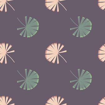 Modello senza cuciture in stile minimalista con stampa licuala palma organica doodle doodle