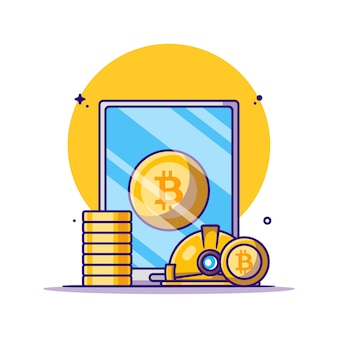 Illustrazioni del fumetto di criptovaluta bitcoin di data mining