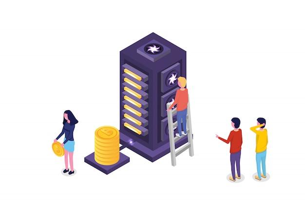 Concetto isometrico ultravioletto di mining bitcoin farm. illustrazione vettoriale