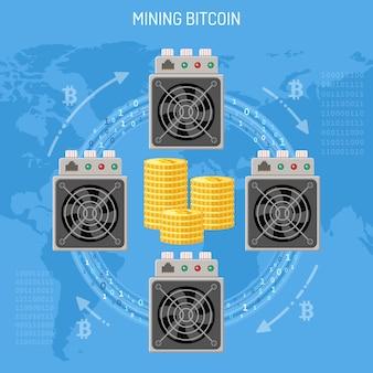 Concetto di bitcoin di valuta crittografica di mining