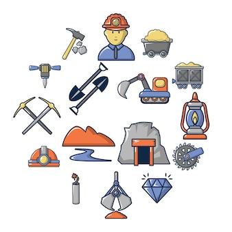 Insieme dell'icona di affari dei minerali di estrazione mineraria, stile del fumetto