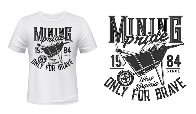 Mockup di vettore di stampa t-shirt mineraria, minatore di carbone