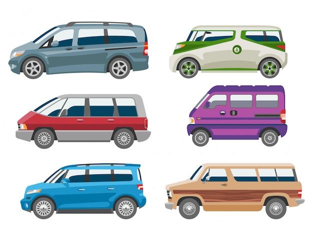 Citycar isolato veicolo dell'automobile del minivan del furgone della famiglia del veicolo dell'auto e dell'insegna dell'automobile sull'illustrazione bianca del fondo