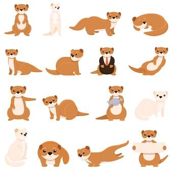 Set di icone di visone. insieme del fumetto delle icone di visone per il web