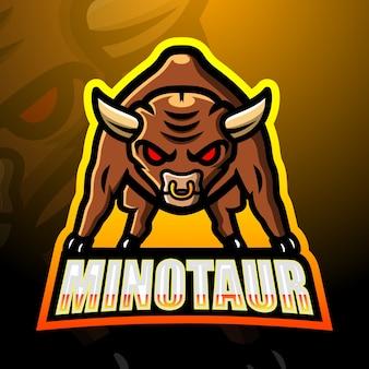 Minotauro mascotte esport illustrazione