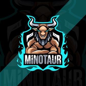 Minotauro mascotte logo esport design