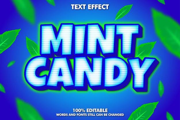 Effetto testo adesivo caramelle alla menta testo in grassetto e brillante dei cartoni animati