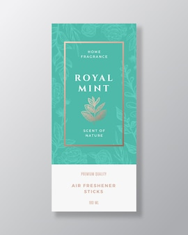Modello di etichetta astratta di fragranza domestica di menta e spezie.