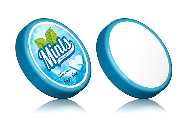 Design del pacchetto di gomme alla menta, mockup di contenitori con etichette