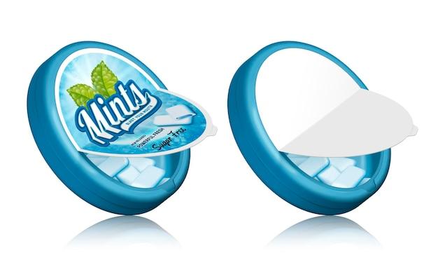 Design del pacchetto di gomme alla menta, contenitori aperti con gomme