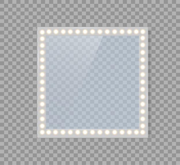 Specchio in cornice con luci intense per il trucco nel backroom