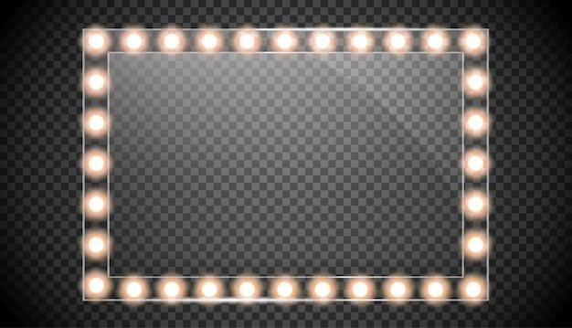 Specchio isolato con luci dorate. illustrazione di cornici quadrate.