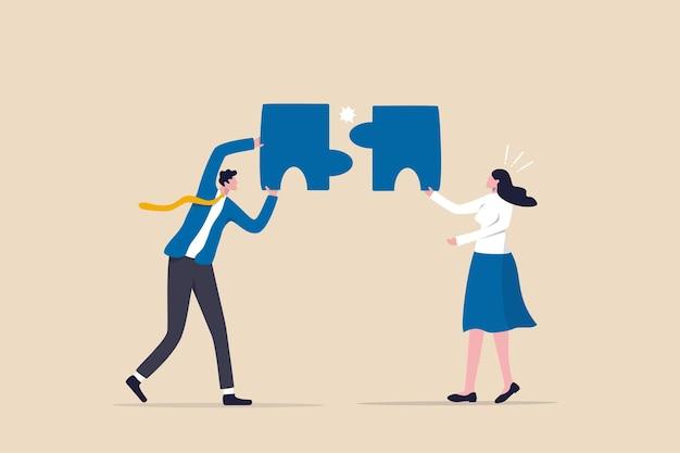Mancata corrispondenza o errore, decisione aziendale errata o fallimento di una soluzione errata, cattiva gestione o concetto di scelta non valida, uomini d'affari confusi che mettono insieme discrepanze o puzzle errati.