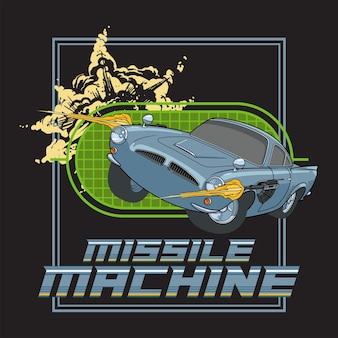 Manifesto dell'illustrazione della macchina missilistica con un'auto d'epoca che utilizza un'arma per sparare design