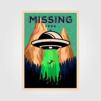 Persone scomparse con oggetto volante non identificato illustrazione poster vintage design.