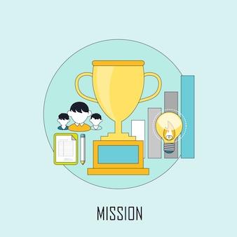 Concetto di missione: premio dorato in stile linea