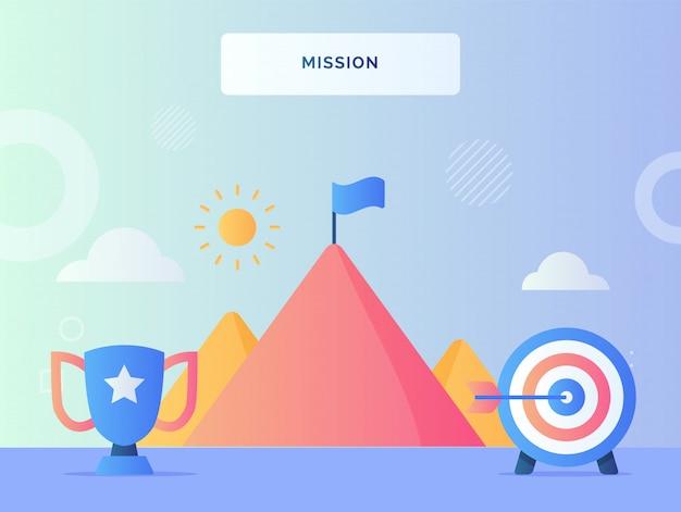 Obiettivo dell'obiettivo del trofeo del concetto di missione nella bandiera anteriore sulla cima della montagna con uno stile piatto.