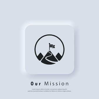 Icona della missione. obbiettivo. logo della missione. montagna con una bandiera. vettore. icona dell'interfaccia utente. pulsante web dell'interfaccia utente bianco neumorphic ui ux.