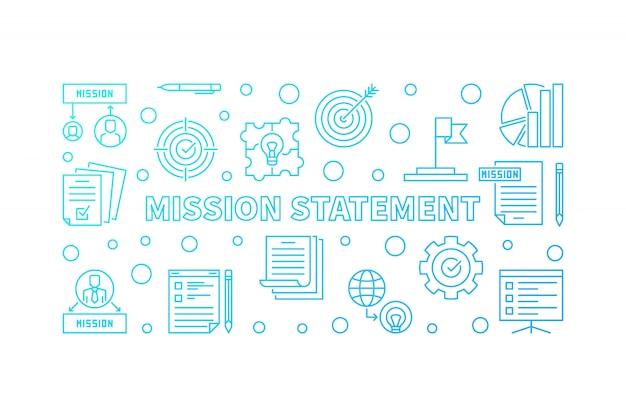 Illustrazione blu orizzontale del profilo di vettore di dichiarazione di missione