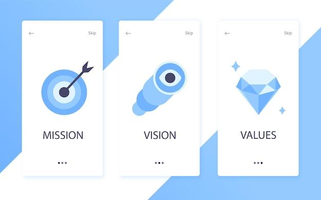 Visione della missione e valori icone del design in stile piatto segni concetti web illustrazione vettoriale set