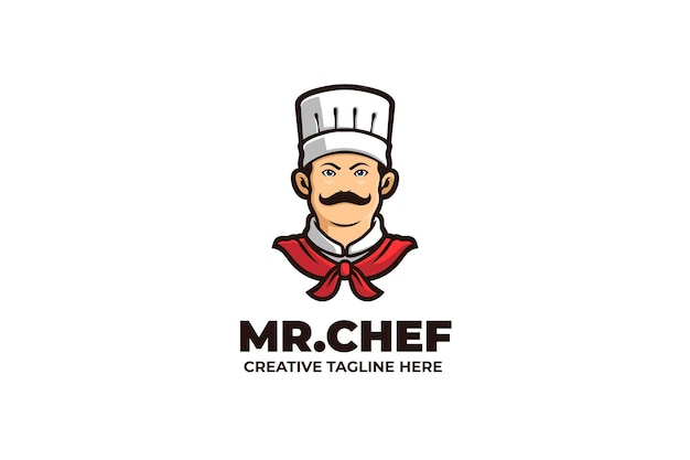 Mister chef cooking food mascot logo