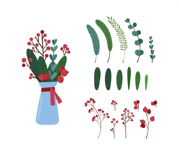 Insieme di illustrazioni degli elementi della decorazione botanica dell'albero di vischio.