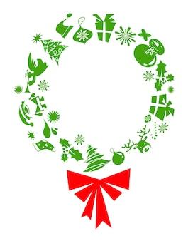 Corona di vischio con icone verdi di natale.