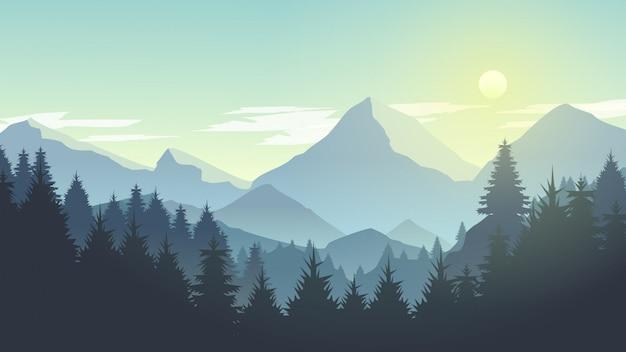 Misty mountain cliff pine tree forest nature landscape alla mattina, a mezzogiorno, alla luce del giorno