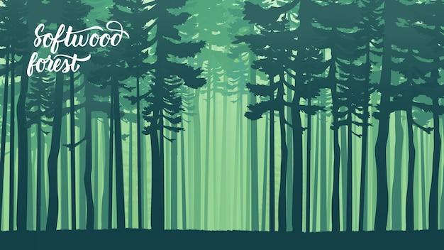 Misty con bosco di abeti in stile retrò hipster. pendio di montagna boscoso con le conifere sempreverdi.