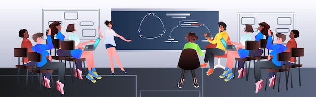 Mescolare gli imprenditori della corsa che fanno la presentazione sulla lavagna durante la riunione della conferenza concetto di formazione aziendale orizzontale figura intera