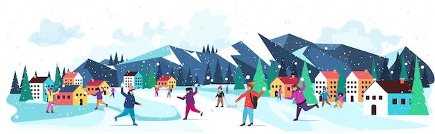 Mescolare i bambini della corsa in maschere divertendosi in inverno all'aperto tempo libero e attività concetto di quarantena del coronavirus nevicate paesaggio sfondo illustrazione orizzontale