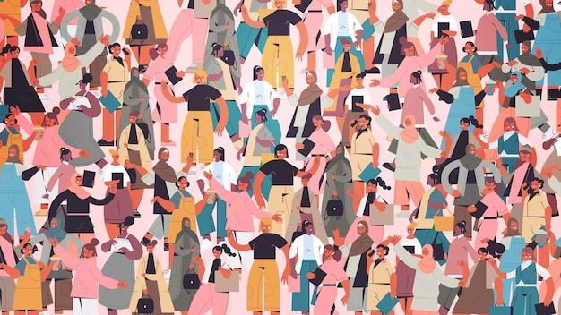 Mescolare gara ragazze folla in piedi insieme emancipazione femminile movimento comunità delle donne unione di femministe concetto illustrazione vettoriale orizzontale