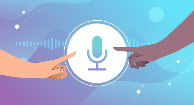 Mescolare le mani della corsa toccando il pulsante del microfono comunicando in messaggistica istantanea tramite messaggi vocali applicazione di chat audio social media concetto di comunicazione online illustrazione vettoriale orizzontale