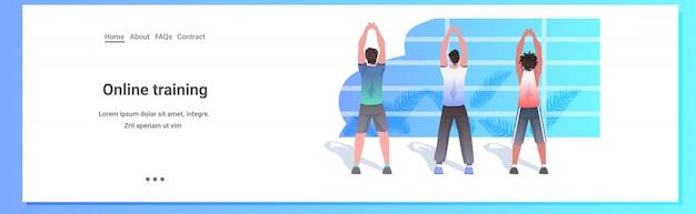 Mescoli gli uomini della corsa che fanno gli esercizi di forma fisica di yoga che preparano i ragazzi sani di concetto di stile di vita che risolvono l'illustrazione integrale orizzontale dello spazio della copia