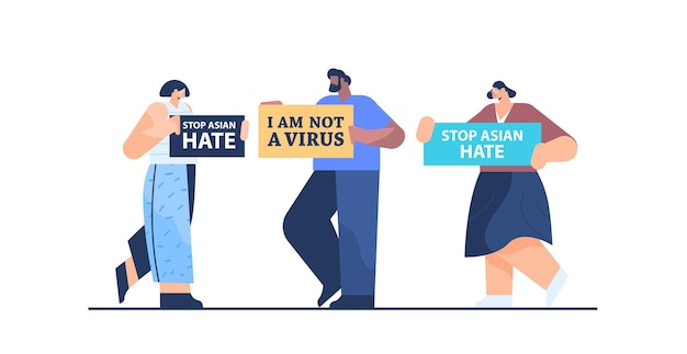 Mescolare persone di razza che tengono poster di testo contro il razzismo. ferma l'odio asiatico. supporto durante la pandemia di coronavirus covid-19