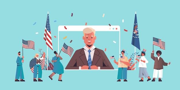 Mescolare le persone di razza che tengono le bandiere degli stati uniti che celebrano le vacanze del giorno dell'indipendenza americana, illustrazione orizzontale del 4 luglio