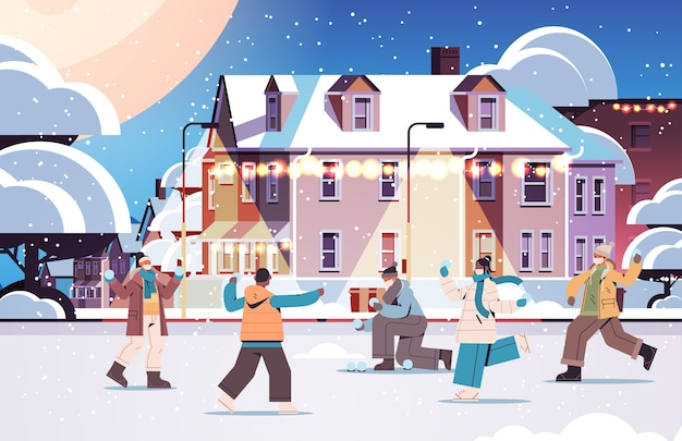 Mescolare persone di razza in maschere che hanno divertimento invernale uomini donne che camminano all'aperto concetto di quarantena coronavirus illustrazione vettoriale orizzontale integrale